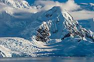 Snow covered mountains, Wilhelmina Bay, Antarctica