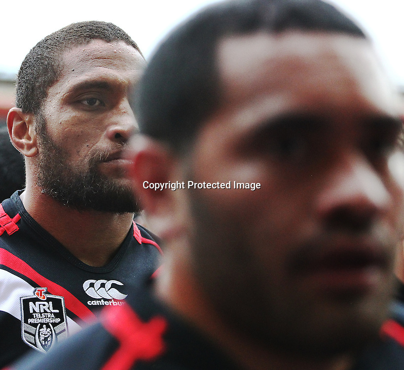 Warriors' Manu Vatuvei (L) is a picture of focus prior to kick off in the NRL match between The Warriors v Wests Tigers. Westpac Stadium, Wellington. 29 March 2014. Photo.: Grant Down / www.photosport.co.nz