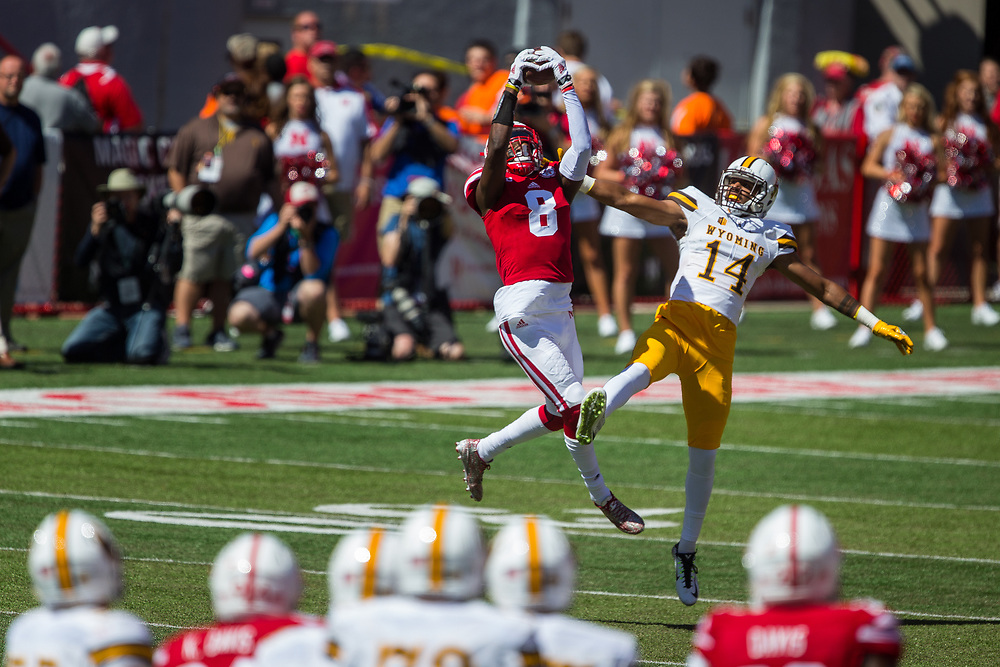 Chris Jones #8 of the Nebraska Cornhuskers intercepts a pass in front of C.J. Johnson #14 of the Wyoming Cowboys during Nebraska's game against Wyoming at Memorial Stadium in Lincoln, Neb. on Sept. 10, 2016. Photo by Aaron Babcock, Hail Varsity