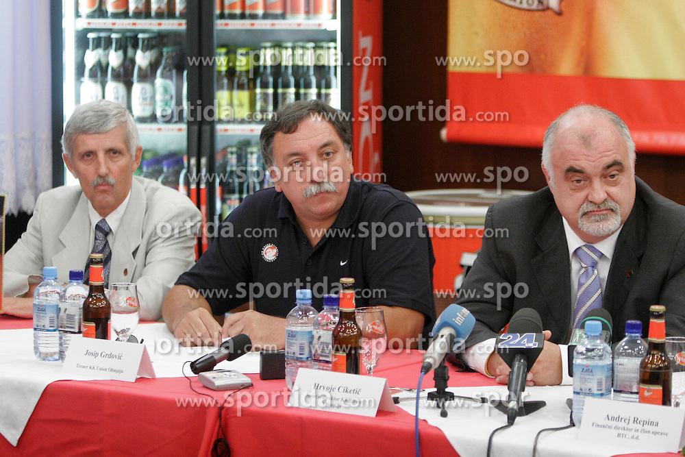 Janez Drvaric, Josip Grdovic, Hrvoje Ciketic at press conference of KK Union Olimpija before new season 2005/2006, on August 9, 2005, Pivovarna Union, Ljubljana, Slovenia.  (Photo by Vid Ponikvar / Sportida)