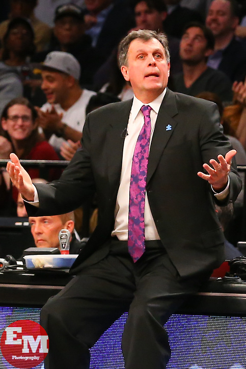Apr 1, 2014; Brooklyn, NY, USA; Houston Rockets head coach Kevin McHale reacts to his technical foul call during the fourth quarter at Barclays Center. The Nets defeated the Rockets 105-96.