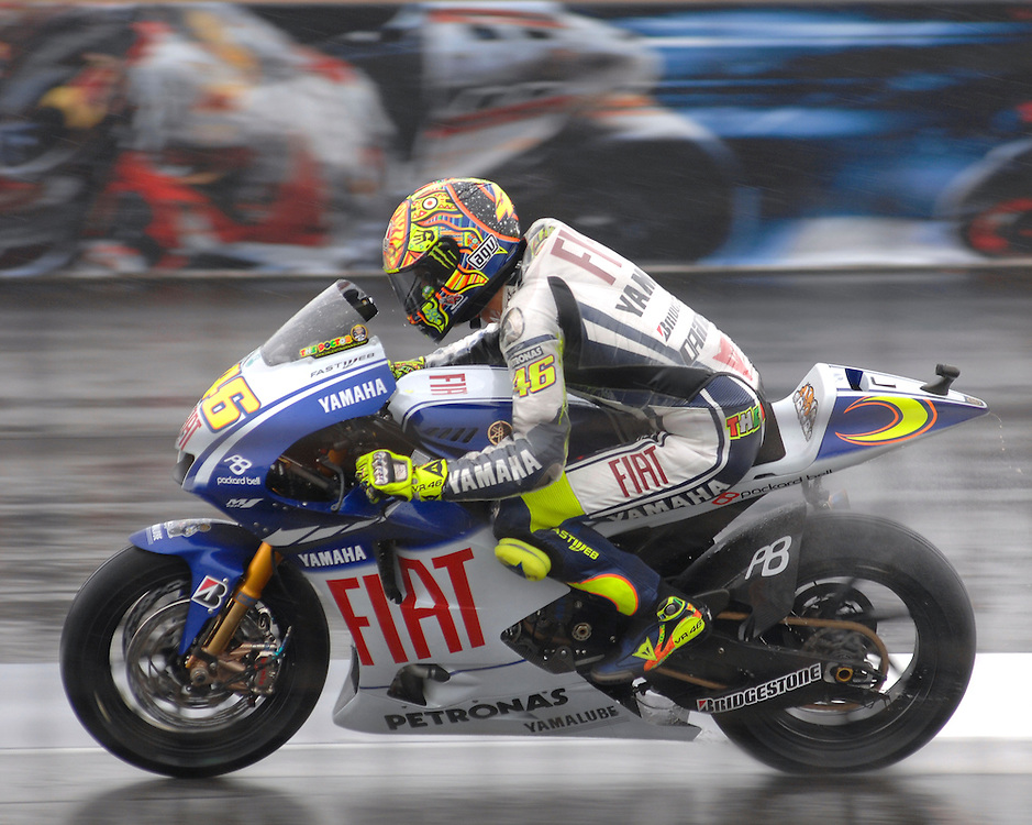 Moto GP superstar Valentino Rossi races his Yamaha at the Indianapolis Motor Speedway.