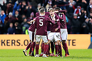Harry Cochrane (#47) of Heart of Midlothian celebrates Heart of Midlothian's first goal (1-0) scored by Christophe Berra (#6) of Heart of Midlothian during the William Hill Scottish Cup 4th round match between Heart of Midlothian and Hibernian at Tynecastle Stadium, Gorgie, Scotland on 21 January 2018. Photo by Craig Doyle.