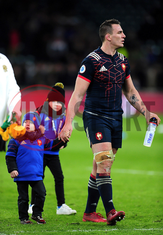 Louis Picamoles of France leaves the field with his son - Mandatory byline: Patrick Khachfe/JMP - 07966 386802 - 04/02/2017 - RUGBY UNION - Twickenham Stadium - London, England - England v France - RBS Six Nations Championship 2017.