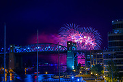Fireworks on English Bay for Celebration of Light - Team Sweden<br /> <br /> Show overlooking False Creek Yacht Club Marina and the Burrard Bridge.<br /> <br /> f11 @ 6 s, 1600 ISO<br /> AF Zoom 24-70mm f/2.8G at 70 mm on NIKON D850