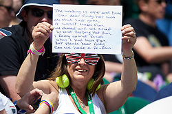 LONDON, ENGLAND - Wednesday, July 2, 2014: A British Andy Murray fan during the Ladies' Singles Quarter-Final match on day nine of the Wimbledon Lawn Tennis Championships at the All England Lawn Tennis and Croquet Club. (Pic by David Rawcliffe/Propaganda)