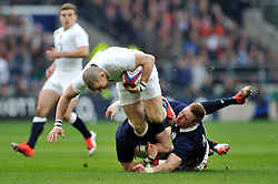 Mike Brown of England is double-tackled - Photo mandatory by-line: Patrick Khachfe/JMP - Mobile: 07966 386802 14/03/2015 - SPORT - RUGBY UNION - London - Twickenham Stadium - England v Scotland - Six Nations Championship