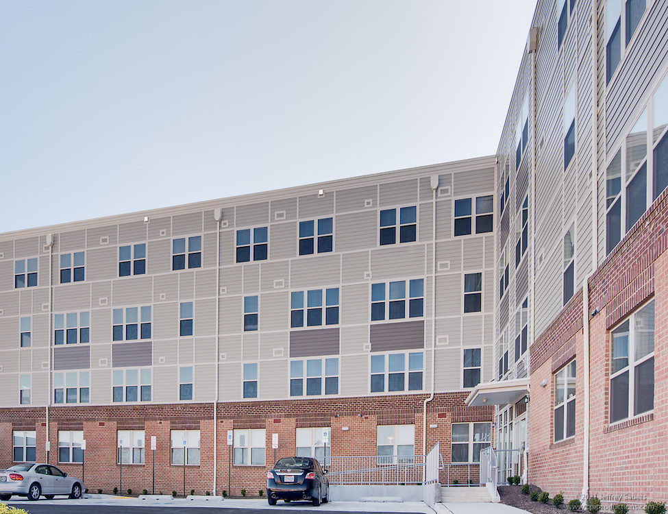 Exterior image of Mary Harvin Senior Apartments in Baltimore Maryland by Jeffrey Sauers of Commercial Photographics, Architectural Photo Artistry in Washington DC, Virginia to Florida and PA to New England
