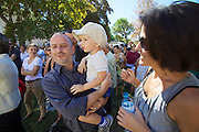 """13th Biennale of Architecture..Giardini..Austrian Pavillion..Wolfgang Tschapeller, Rens Veltman, Martin Perktold, """"hands have no tears to flow..."""", 2012..Opening ceremony..Comissioner Arno Ritter with child and wife."""