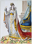 Cermonial robes worn by Josephine at the coronation of Napoleon, 2 December 1804. Hand-coloured engraving.