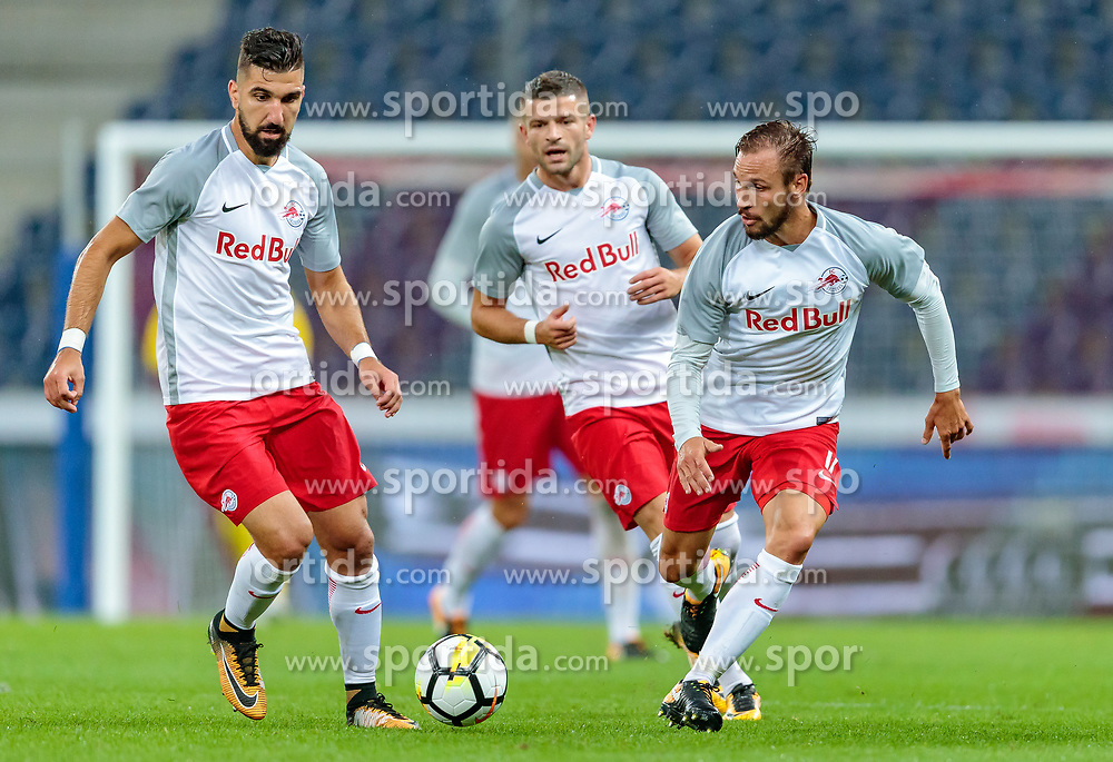 26.07.2017, Red Bull Arena, Salzburg, AUT, UEFA CL, FC Salzburg vs HNK Rijeka, Qualifikation, 3. Runde, Hinspiel, im Bild Munas Dabbur (FC Red Bull Salzburg), Valon Berisha (FC Red Bull Salzburg), Andreas Ulmer (FC Red Bull Salzburg) // during the UEFA Championsleague Qualifier 3rd round, 1st leg match between FC Salzburg and HNK Rijeka at the Red Bull Arena in Salzburg, Austria on 2017/07/26. EXPA Pictures © 2017, PhotoCredit: EXPA/ JFK
