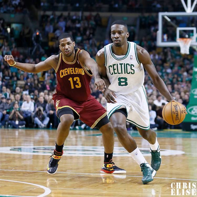 05 April 2013: Boston Celtics power forward Jeff Green (8) drives past Cleveland Cavaliers power forward Tristan Thompson (13) during the Cleveland Cavaliers 97-91victory over the Boston Celtics at the TD Garden, Boston, Massachusetts, USA.