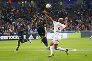 Mariano Diaz (OL) Fouad Chafik (Dijon) during the French Championship Ligue 1 football match between Olympique Lyonnais and Dijon FCO on September 23, 2017 at Groupama stadium in Lyon, France - Photo Romain Biard / Isports / ProSportsImages / DPPI
