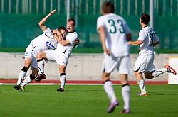 Adnan Besic of Olimpija  and Enes Rujovic of Olimpija  celebrate during the football match between NK Triglav Gorenjska and NK Olimpija, played in the 9th Round of Prva liga football league 2010 - 2011, on September 19, 2010, Mestni stadion, Kranj, Slovenia. Olimpija defeated Triglav 5 - 0. (Photo by Vid Ponikvar / Sportida)