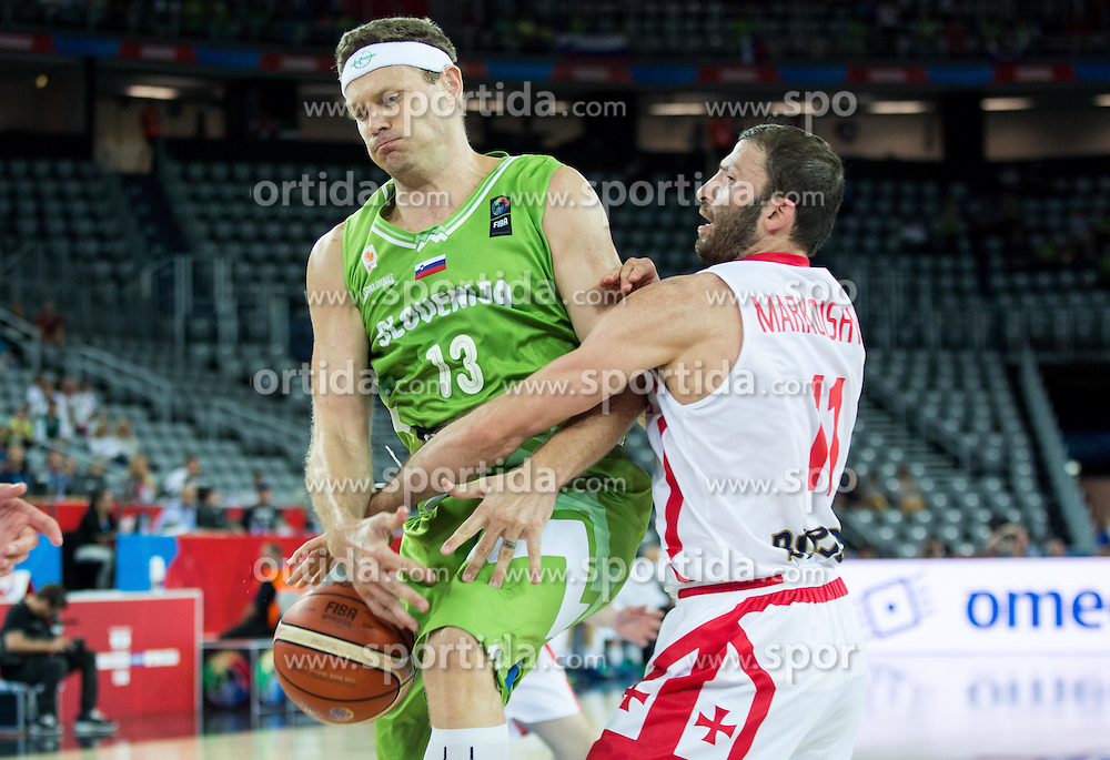 Miha Zupan of Slovenia vs Manuchar Markoishvili of Georgia during basketball match between Slovenia and Georgia at Day 2 in Group C of FIBA Europe Eurobasket 2015, on September 6, 2015, in Arena Zagreb, Croatia. Photo by Vid Ponikvar / Sportida