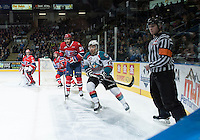 KELOWNA, CANADA - MARCH 7: Tyrell Goulbourne #12 of Kelowna Rockets checks Tamas Laday #24 of Spokane Chiefs on March 7, 2015 at Prospera Place in Kelowna, British Columbia, Canada.  (Photo by Marissa Baecker/Shoot the Breeze)  *** Local Caption *** Tyrell Goulbourne; Tamas Laday;