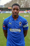 AFC Wimbledon attacker Michael Folivi (41) in home kit during the The FA Cup 5th round match between AFC Wimbledon and Millwall at the Cherry Red Records Stadium, Kingston, England on 16 February 2019.
