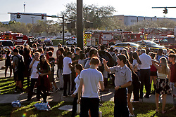 Students are released from a lockdown outside of Stoneman Douglas High School in Parkland, FL, USA after reports of an active shooter on Wednesday, February 14, 2018. Photo by John McCall/Sun Sentinel/TNS/ABACAPRESS.COM