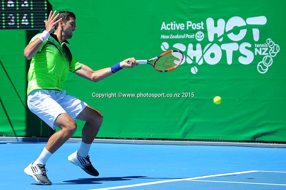 Thomaz Bellucci from Brazil during his singles match at the Heineken Open. ASB Tennis Centre, Auckland, New Zealand. Tuesday 13 January 2015. Copyright photo: Chris Symes/www.photosport.co.nz