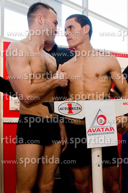 Slovenian Boxer Dejan Zavec alias Jan Zaveck alias Mr. Simpatikus and his challenger Rodolfo Ezequiel Martinez - Epi at official weighing 1 Day before IBF World Champion title fight, on April 8, 2010, in Avto Delta, Ljubljana, Slovenia.  (Photo by Vid Ponikvar / Sportida)