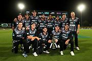 New Zealand celebrate winning the T20 series. New Zealand Black Caps v India. Twenty20 International cricket. 3rd T20. Seddon Park, Hamilton, New Zealand. Sunday 10 February 2019.<br /> <br /> Copyright photo: © Bruce Lim / www.photosport.nz
