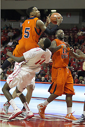 16 December 2012:  Johnny Hill collects a hard offensive foul from Justin Black during an NCAA men's basketball game between the Morgan State Bears and the Illinois State Redbirds (Missouri Valley Conference) in Redbird Arena, Normal IL