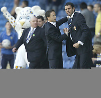 Photo: Aidan Ellis.<br /> Leeds United v Burnley. Coca Cola Championship. 14/04/2007.<br /> Leeds Dennis Wise and Gustavo Poyet celebrate victory at the end