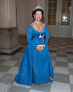 Queen Silvia of Sweden arriving at a Gala dinner at Christiansborg Palace to celebrate 40 years on the throne of Queen Margrethe II of Denmark in Copenhagen, Denmark.