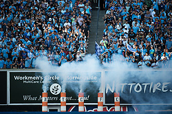 July 8, 2018 - Bronx, New York, United States - NYCFC fans during a regular season match at Yankee Stadium in Bronx, NY.  New York City FC defeats the New York Red Bulls 1 to 0 (Credit Image: © Mark Smith via ZUMA Wire)