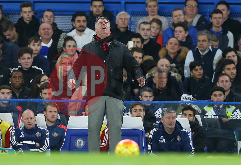 Sunderland Manager Sam Allardyce reacts during the match - Mandatory byline: Paul Terry/JMP - 07966 386802 - 19/12/2015 - FOOTBALL - Stamford Bridge - London, England - Chelsea v Sunderland - Barclays Premier League