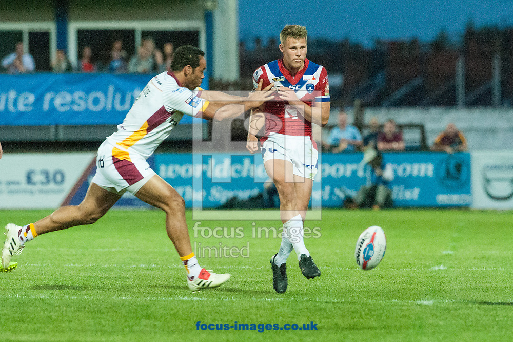 Jacob Miller of Wakefield Trinity  kicks the ball forward during the Betfred Super League match at Belle Vue, Wakefield<br /> Picture by Matt Wilkinson/Focus Images Ltd 07814 960751<br /> 26/05/2017