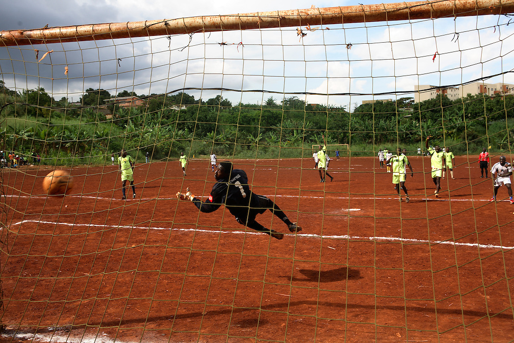 One of the teams concede a goal at the Malitoli tournament at Cite Verte, saturday 24th of May 2008. Yaounde, Cameroon.