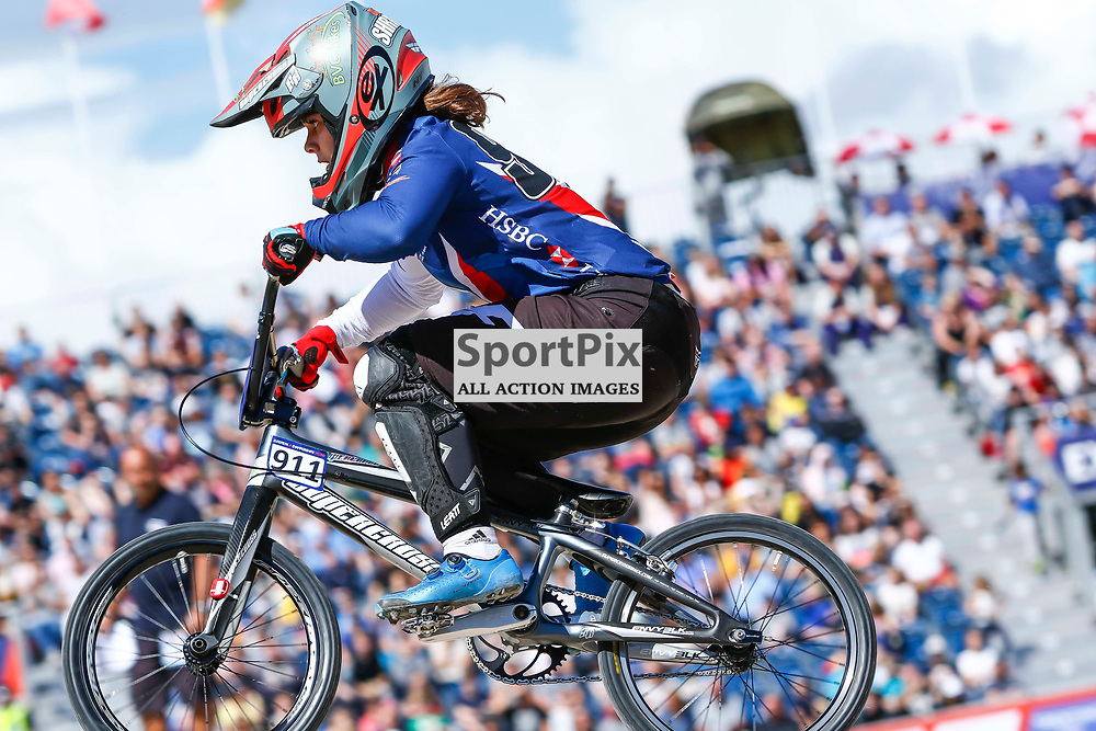 Bethany Shriever (GBR) in front of a packed stand at the new Glasgow BMX Centre during the European Championships.