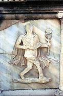 Libia  Sabratha .Città  romana a circa 67km da Tripoli.Teatro Romano, Teatro Romano,un particolare del proscenio del teatro,raffigurante una figura in marmo di carattere teatrale.<br /> Sabratha Libya.Roman city about 67km from Tripoli.<br /> Roman Theatre, a detail of the proscenium theater, portraying a figure in marble theatrical character.