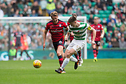 14th October 2017, Celtic Park, Glasgow, Scotland; Scottish Premiership football, Celtic versus Dundee; Celtic's Kieran Tierney and Dundee's Mark O'Hara