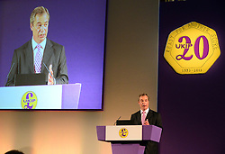 UKIP Leader Nigel Farage during his Keynote Speech at UKIP's annual conference, Central Hall, Westminster, London, United Kingdom. Friday, 20th September 2013. Picture by Nils Jorgensen/ i-Images