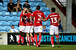 Tammy Abraham of Bristol City celebrates with teammates after scoring the winning goal against Scunthorpe United - Mandatory by-line: Robbie Stephenson/JMP - 23/08/2016 - FOOTBALL - Glanford Park - Scunthorpe, England - Scunthorpe United v Bristol City - EFL Cup second round