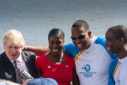 London, June 6th 2014. Mayor of London Boris Johnson joins Olympic and Commonwealth champion Christine Ohuruogu MBE and batonbearers Faramolu Johnson and Michael Pusey to welcome the Commonwealth Games Queen's Baton Relay to the Capital.