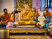 02 APRIL 2015 - CHIANG MAI, CHIANG MAI, THAILAND: The Abbot of Wat Chedi Luang in Chiang Mai leads a prayer service to mark the 60th Birthday celebrations for HRH Princess Maha Chakri Sirindhorn, daughter of Bhumibol Adulyadej, the King of Thailand, and his wife, Queen Sirikit. The Princess is revered by most Thais and her birthday is celebrated throughout Thailand.    PHOTO BY JACK KURTZ