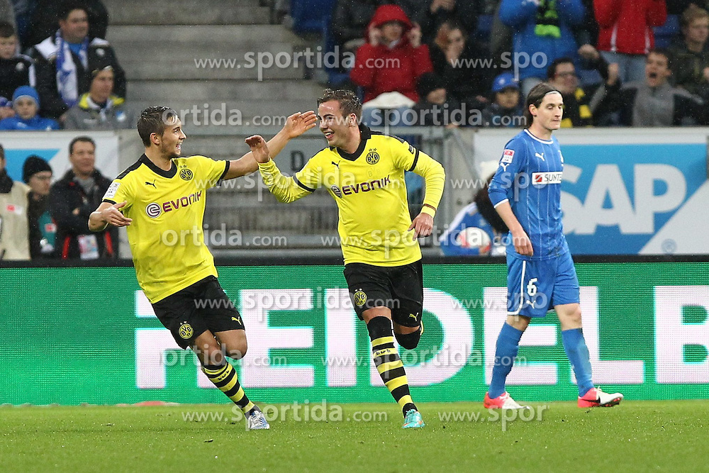 12.16.2012, Rhein Neckar Arena, Sinsheim, GER, 1. FBL, TSG 1899 Hoffenheim vs Borussia Dortmund, 17. Runde, im Bild Mario GOETZE (Borussia Dortmund) bejubelt mit Moritz LEITNER (Borussia Dortmund) seinen Treffer zum 1:0, Tor, Torjubel/ Jubel, Emotionen // during the German Bundesliga 17th round match between TSG 1899 Hoffenheim and Borussia Dortmund at the Rhein Neckar Arena, Sinsheim, Germany on 2012/12/16. EXPA Pictures © 2012, PhotoCredit: EXPA/ Eibner/ Alexander Neis..***** ATTENTION - OUT OF GER *****
