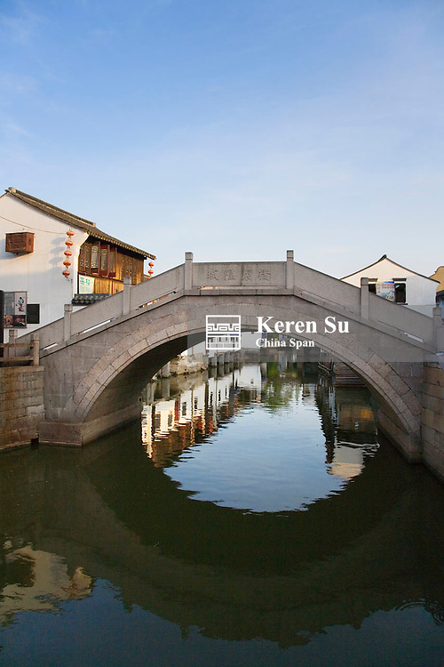 Stone bridge on the Grand Canal in the water town, Zhujiajiao, near Shanghai, China