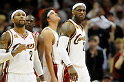 Apr 27, 2010; Cleveland, OH, USA; Cleveland Cavaliers guard Mo Williams (2) and Cleveland Cavaliers forward LeBron James (23) take the floor after a timeout during the fourth period in game five against the Chicago Bulls in the first round of the 2010 NBA playoffs at Quicken Loans Arena. The Cavaliers won, 96-94. Mandatory Credit: Jason Miller-US PRESSWIRE