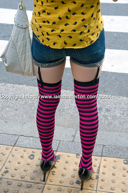 Typical modern female youth fashion on streets of Tokyo 2008