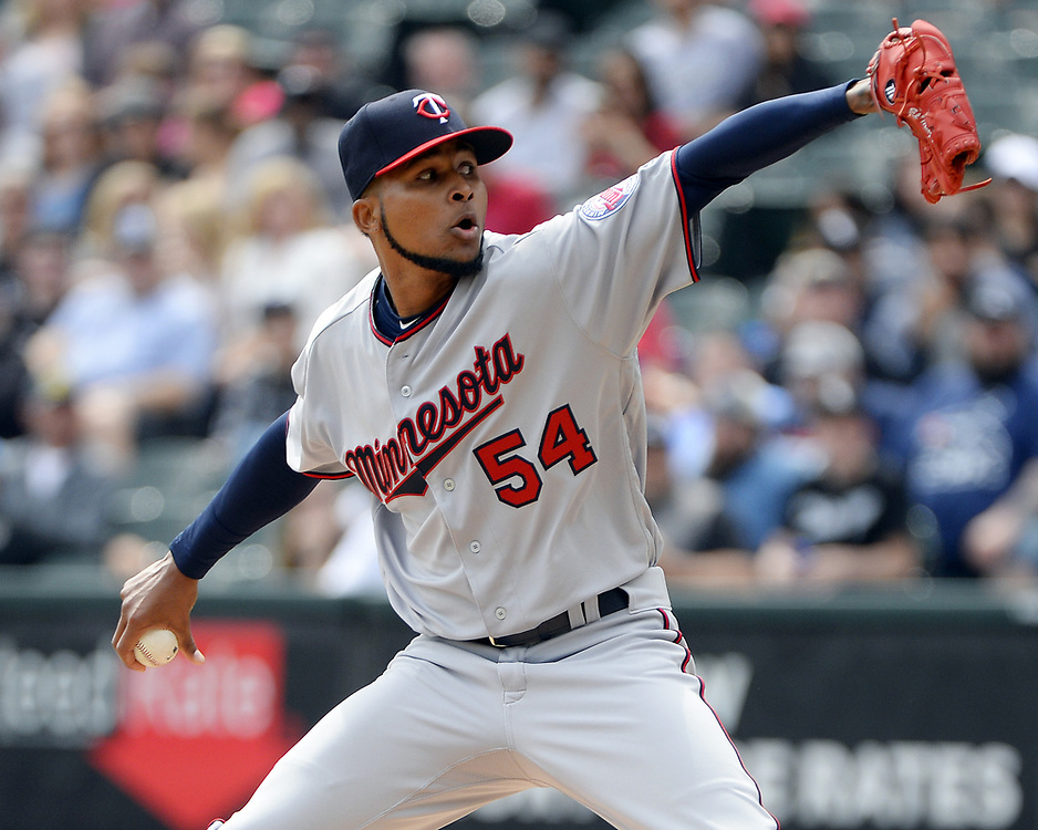 CHICAGO - APRIL 09:  Ervin Santana #54 of the Minnesota Twins pitches against the Chicago White Sox on April 9, 2017 at Guaranteed Rate Field in Chicago, Illinois.  (Photo by Ron Vesely)   Subject:  Ervin Santana