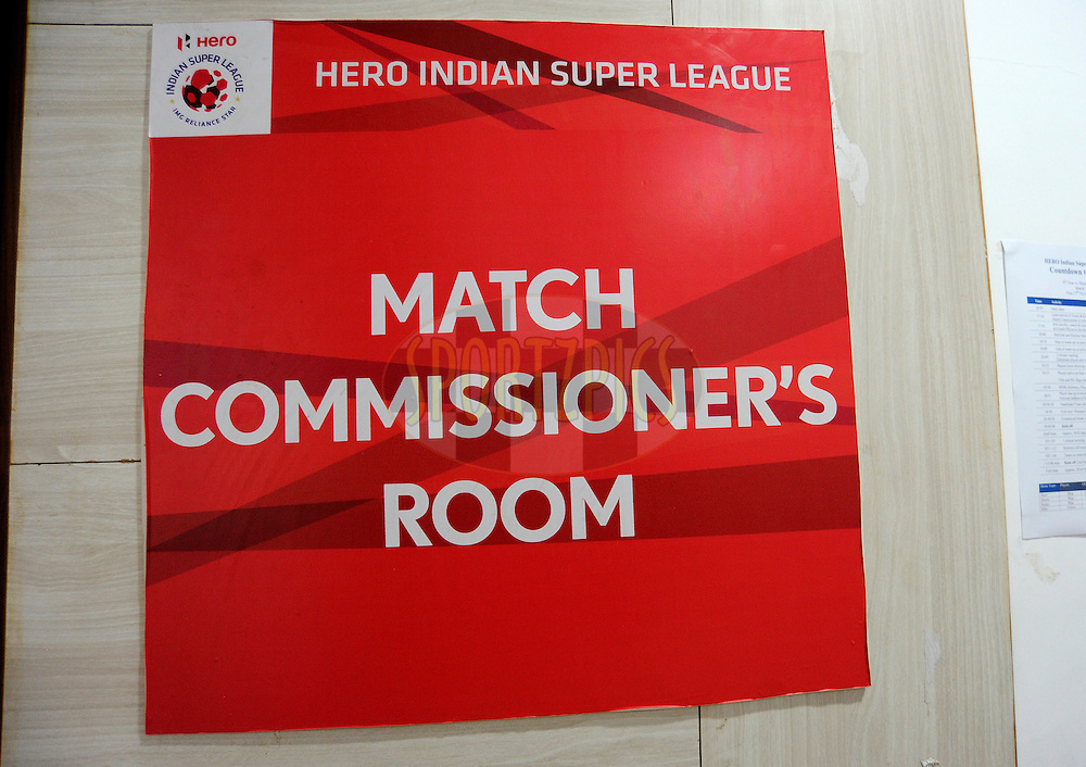 Match Comissioner's room during match 36 of the Indian Super League (ISL) season 2  between Mumbai City FC vs FC Pune City held at the D.Y. Patil Stadium, Navi Mumbai, India on the 13th November 2015.<br /> <br /> Photo by Pal Pillai / ISL/ SPORTZPICS