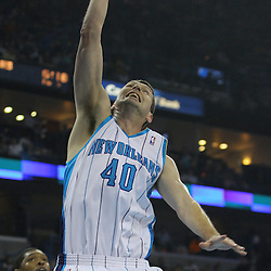 08 February 2009: New Orleans Hornets forward Ryan Bowen (40) dunks during a NBA game between the Minnesota Timberwolves and the New Orleans Hornets at the New Orleans Arena in New Orleans, LA.