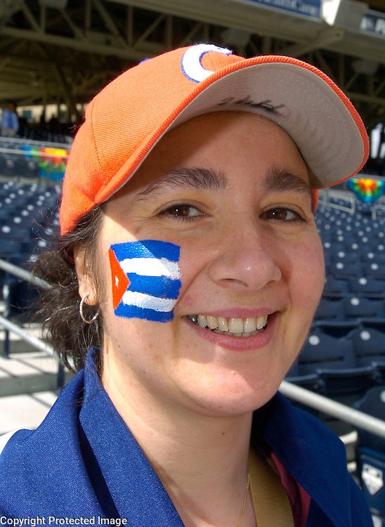 Team Cuba fan has her game face on before the start of the game against Team Dominican Republic in Semi-Final action of the World Baseball Classic at PETCO Park, San Diego, CA.