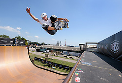 © Licensed to London News Pictures.  06/07/2017; Bath & West Showground, Somerset, UK. NASS, National Action Sports Show festival. ZAK KUTZ practices on the 'Vert' at the world's leading BMX and skate athletes will compete in the West Country this weekend as the IBMXFF World Championships and Europe's leading skate contest return to NASS Festival. The annual action sport and music festival, which takes place on the 6th – 9th July near Bristol will host the BMX World Championships for the second year running, after the games returned to the UK for the first time in 28 years last year. The event will be one of the largest global BMX freestyle and skate events of the year with more than 450 professional and amateur athletes from over 40 countries heading to the festival. Earlier this month it was announced that BMX Freestyle has been added to the programme of the Tokyo 2020 Olympic Games highlighting the growth and incredible standard of this sport. Olympics hopefuls and reigning BMX Champions Logan Martin, Vince Byron and Nick Bruce will all return to defend their titles across Pro Park, Vert and Dirt. The competition will be hosted by BMX's greatest legend, Mat Hoffman. Picture credit : Simon Chapman/LNP