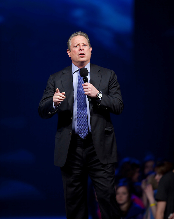 Former U.S. Vice President and environmental crusader Al Gore speaks to an audience of young people at Free the Children's We Day celebrations in Kitchener, Ontario, Thursday, February 17, 2011. We Day was started to celebrate the power of young people. <br /> The Canadian Press/GEOFF ROBINS