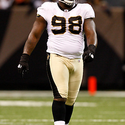 August 21, 2010; New Orleans, LA, USA; New Orleans Saints defensive tackle Sedrick Ellis (98) during the first quarter of a preseason game against the Houston Texans at the Louisiana Superdome. Mandatory Credit: Derick E. Hingle